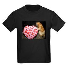 Tamarin With Heart Present Kids Dark T-Shirt