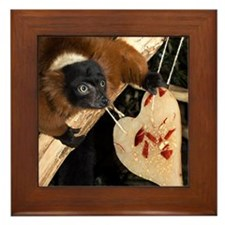 Red Ruffed Lemur with Heart Framed Tile