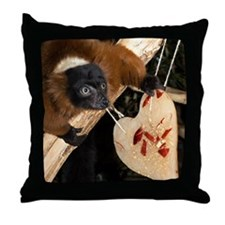 Red Ruffed Lemur with Heart Throw Pillow