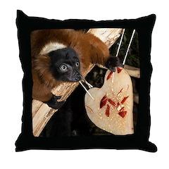 Red Ruffed Lemur with Heart Throw Pillow