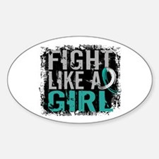 Licensed Fight Like a Girl 31.8 Cer Sticker (Oval)