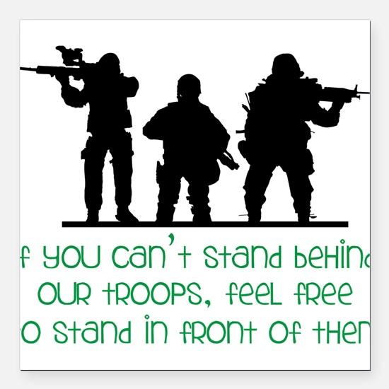 """Our Troops Square Car Magnet 3"""" x 3"""""""