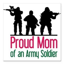 "Proud Mom Square Car Magnet 3"" x 3"""