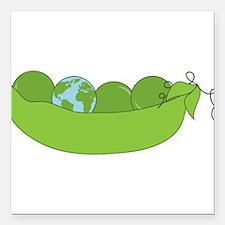 "Green World Peas Square Car Magnet 3"" x 3"""
