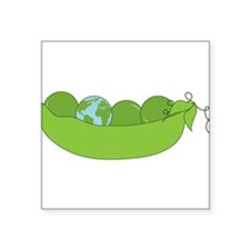 "Green World Peas Square Sticker 3"" x 3"""