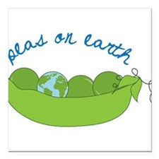 """Peas On Earth Square Car Magnet 3"""" x 3"""""""