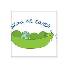 "Peas On Earth Square Sticker 3"" x 3"""