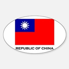 The Republic Of China Flag Stuff Oval Decal