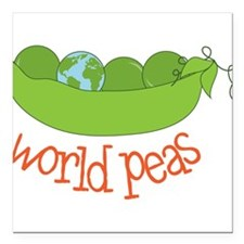 "World Peas Square Car Magnet 3"" x 3"""