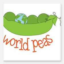 "World Peas Square Car Magnet 3"" x 3"""