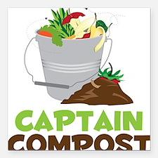 """Captain Compost Square Car Magnet 3"""" x 3"""""""