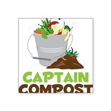 "Captain Compost Square Sticker 3"" x 3"""