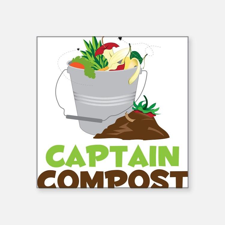 """Captain Compost Square Sticker 3"""" x 3"""""""