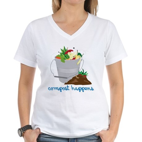 Compost Happens Women's V-Neck T-Shirt