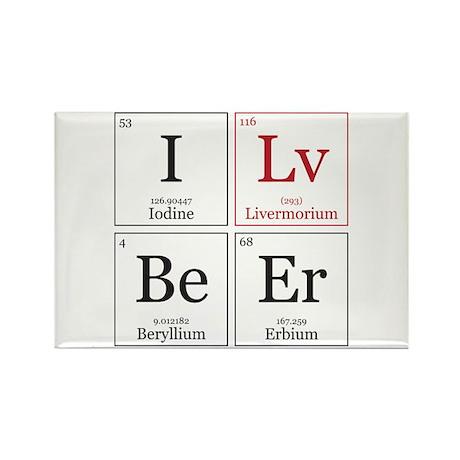 I Lv BeEr [Chemical Elements] Rectangle Magnet