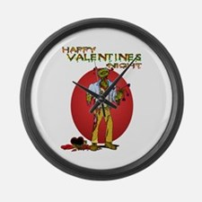 Zombie Valentines Day Large Wall Clock
