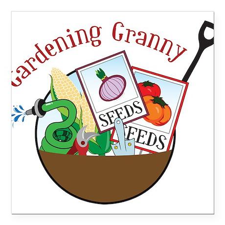 "Gardening Granny Square Car Magnet 3"" x 3"""