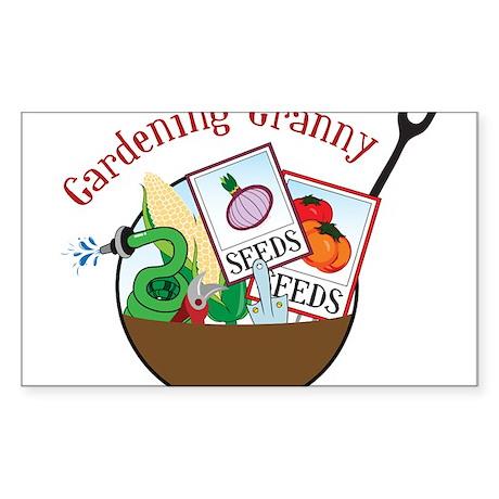 Gardening Granny Sticker (Rectangle)