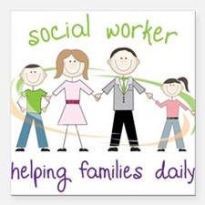 """Helping Families Daily Square Car Magnet 3"""" x 3"""""""