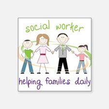"Helping Families Daily Square Sticker 3"" x 3"""