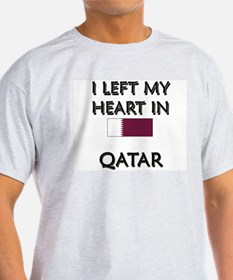 I Left My Heart In Qatar Ash Grey T-Shirt