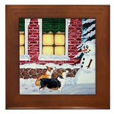 Corgis With Snowman Framed Tile