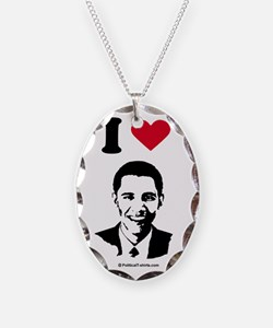 Unique Barack n roll Necklace Oval Charm