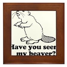 Cute Beaver Framed Tile