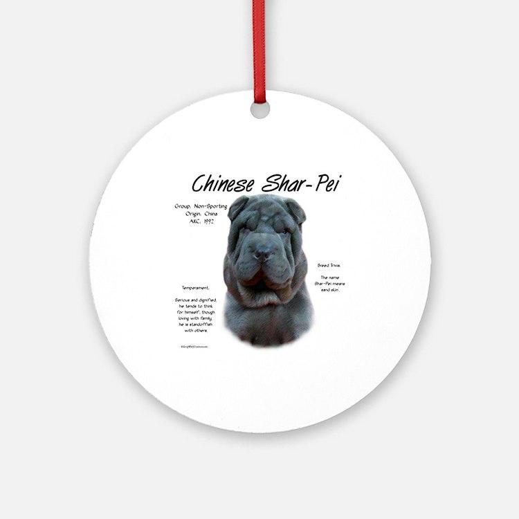 Blue Chinese Shar-Pei Ornament (Round)