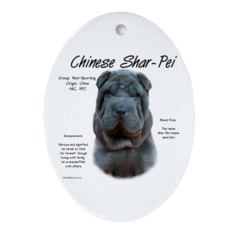 Blue Chinese Shar-Pei Oval Ornament