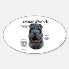 Blue Chinese Shar-Pei Oval Decal