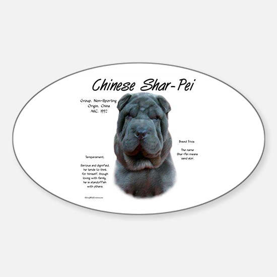 Shar-Pei (blue) Sticker (Oval)