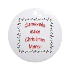 Merry Samoyed Ornament (Round)