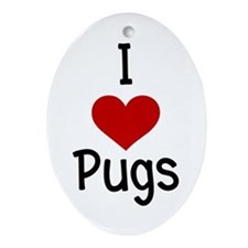iheartpugs.png Ornament (Oval)