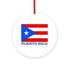 Puerto Rico Flag Gear Ornament (Round)