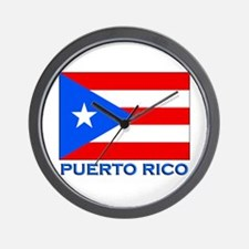 Puerto Rico Flag Gear Wall Clock