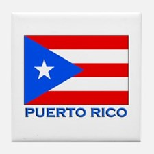 Puerto Rico Flag Gear Tile Coaster