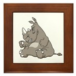 Rhino with an Attitude Framed Tile