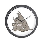 Rhino with an Attitude Wall Clock