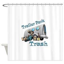 3-trailer park trash.png Shower Curtain
