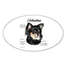 Longhair Chihuahua Oval Decal