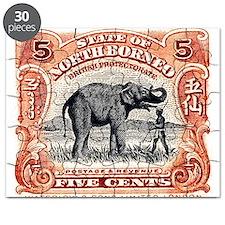 1925 North Borneo Elephant Postage Stamp Puzzle