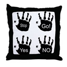 Black Coloured Handprints Throw Pillow