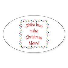 Merry Shiba Inu Oval Decal