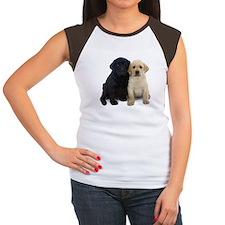 Black and White Labrador Puppies. Women's Cap Slee