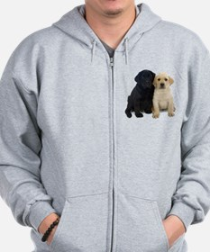 Black and White Labrador Puppies. Zip Hoodie