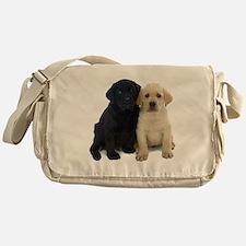 Black and White Labrador Puppies. Messenger Bag
