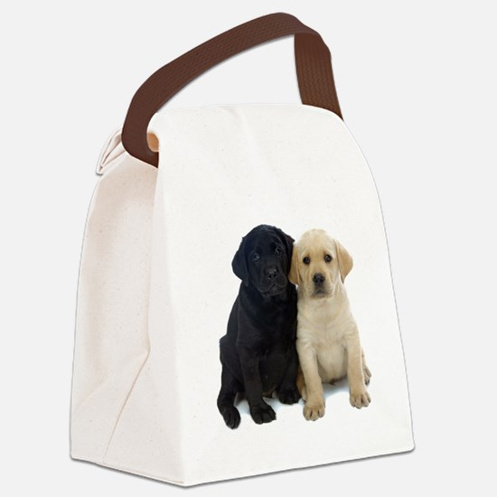 Black and White Labrador Puppies. Canvas Lunch Bag