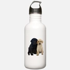Black and White Labrador Puppies. Water Bottle