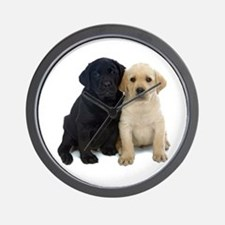 Black and White Labrador Puppies. Wall Clock